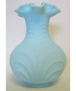 Fenton Blue Custard Glass Vase Hand Blown Unsigned - $57.91