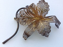 VINTAGE STERLING SILVER 925 GOLD PLATED FILIGREE ORCHID PIN - $27.22