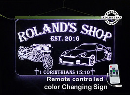 Motorcycle, Race Car LED Sign, Man Cave, Garage Sign, Personalized Gifts - $138.60