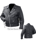 Mens Black Solid Cowhide Leather Classic Biker Style Motorcycle Jacket Z... - $59.99+