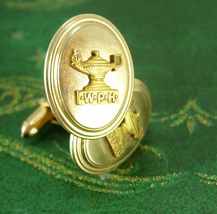 Wolf Point High School Cufflinks 1940's vintage Gold filled jewelry Montana Fort - $175.00