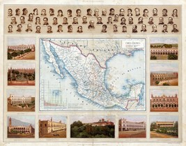 1885 MEXICO map Antonio Garcia Cubas political insert population size st... - $15.84