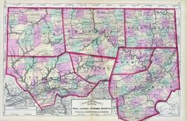 1872 Map Pennsylvania Bradford Sullivan Wyoming Susquehanna Lycoming cou... - $14.85