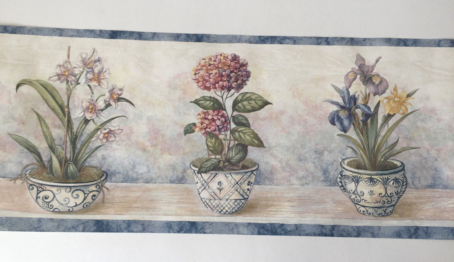 Waverly Flowers Pots Wallpaper Border Blue And 50 Similar Items