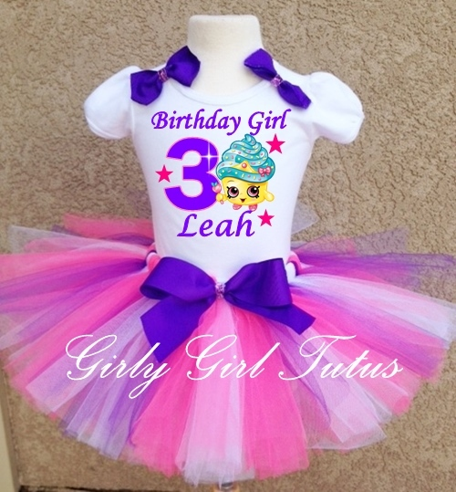 Shopkins Cupcake Queen Pink/Purple Birthday Tutu Outfit Party Dress Set - Outfits U0026 Sets