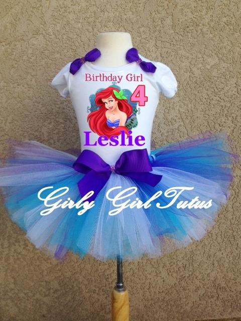 e14181dd1bff Princess Ariel Little Mermaid Birthday Tutu Outfit Party Dress Set
