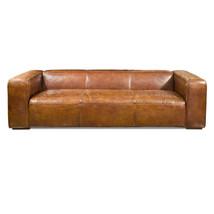 "102"" Sofa Vintage cigar brown soft Italian leather beautiful modern luxu... - $4,900.50"