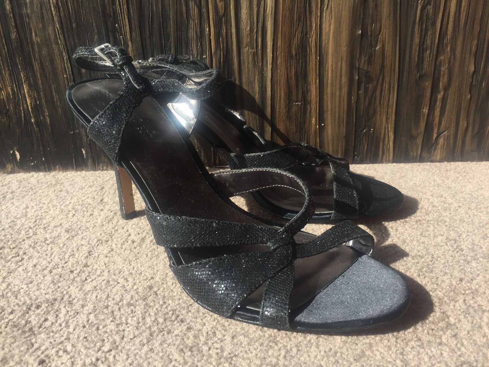 $179 New NINE WEST Silver Black Glitter Strappy Shoes Size 8.5 High Heels