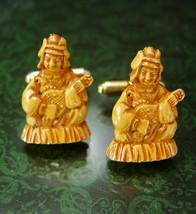 Rare Goddess Cufflinks Vintage BENZAITEN River Water Hindu Wealth fortune Japan  - $145.00