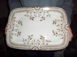 """Antique Foley A F & Co 14"""" PLATTER Brown Aesthetic Staffordshire Crown #20 - $150.00"""