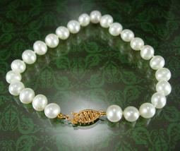 """Genuine gold & Pearl Bracelet Wedding Bridal Vintage signed  7 1/4""""  inc... - $135.00"""