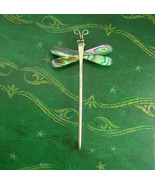 VERY Large sterling Dragonfly brooch * Silver Abalone iridescence wings ... - $125.00