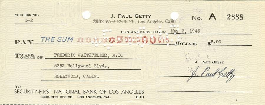 Primary image for j paul getty autograph check oil man billionaire getty oil