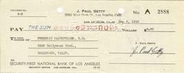 j paul getty autograph check oil man billionaire getty oil - $149.99