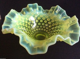 VTG Fenton Yellow Vaseline Glass  Hobnail Opale... - $74.25