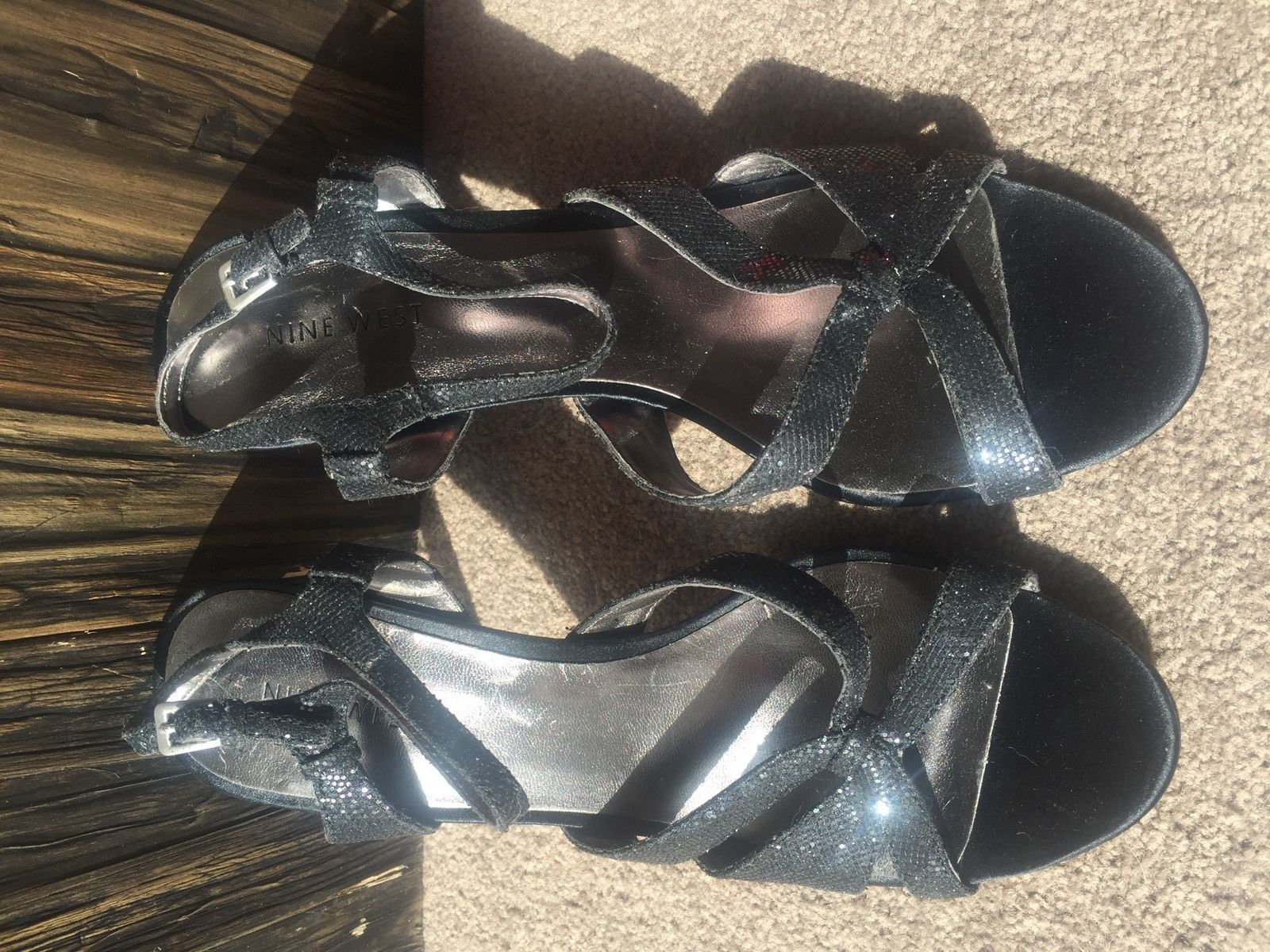 $179 New NINE WEST Silver Black Glitter Strappy Shoes Size 9 High Heels