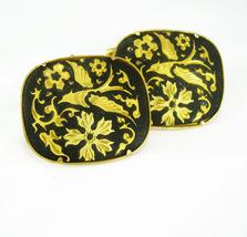 Wedding Dove Cuff links LARGE Elegant Victorian cufflinks Damascene Black gold J - $95.00
