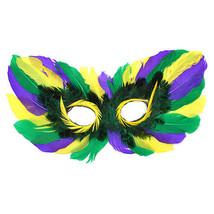 Purple Green Gold Mardi Gras MASQUERADE PARTY FEATHER Eye Mask costume c... - €6,71 EUR