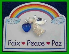 Christmas PIN #0184 Inspirational Angel Pin PEACE Silvertone Tac Pin HOL... - $9.85