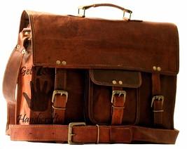 """15"""" Mens satchel Vintage Brown Leather Messenger Bag Shoulder Laptop Briefcase - $59.32"""