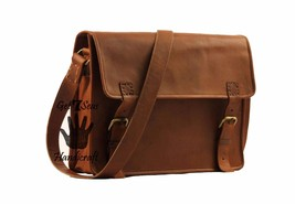 "16"" Mens satchel Vintage Brown Leather Messenger Bag Shoulder Laptop Bri... - $76.73"