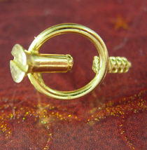 Unusual vintage screw tie Tack Optical Illusion gold punch point with cap tool f - $85.00