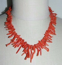 VTG 1/20 12k Yellow Gold Southwestern Long Red Branch Natural Coral Necklace - $297.00