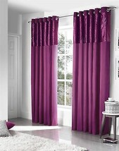 "FAUX SILK CUT VELVET PURPLE 66X90"" 168X229CM LINED ANNEAU TOP CURTAINS D... - $71.72"