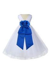 (Updated) White V-Neck Flower Girl Dress Tulle Pageant Wedding Bridesmai... - $27.99