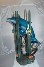 "Two dolphins w small fish fountain Bronze Statue -  Size: 33""L x 30""W x ... - $2,499.00"