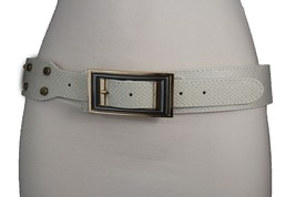 Women Belt Waist Hip Off White Ivory Faux Snake Fashion Gold Square Buck... - $16.65