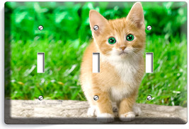 Cute Green Eyes Kitten Kitty Cat Triple Light Switch Wall Plate Cover  Room Art - $16.19