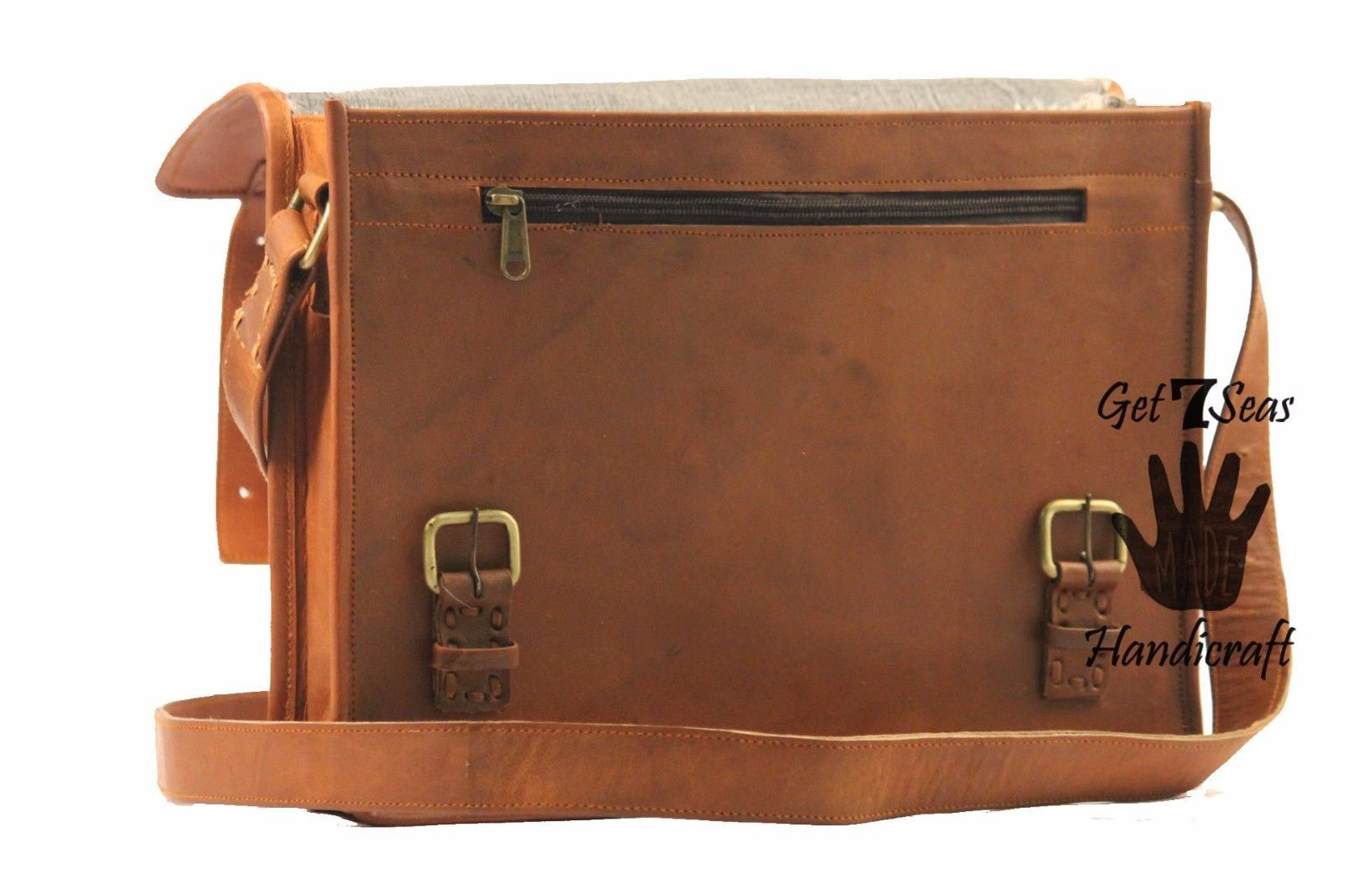 "16"" Mens satchel Vintage Brown Leather Messenger Bag Shoulder Laptop Briefcase"