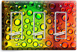 COLORFUL GLASS BUBLES WATER DROPS TRIPLE GFI LIGHT SWITCH WALL PLATE COV... - $16.19