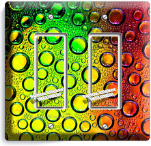 COLORFUL GLASS BUBLES WATER DROPS DOUBLE GFI LIGHT SWITCH WALL PLATE COV... - $10.79