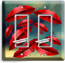 Romantic Red Umbrellas Rainy Day Double Gfci Light Switch Wall Plate Cover Decor - $10.79