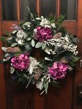 Beautiful All Winter Long Wreath with Purple Hydrangeas for Front Door  - $64.35