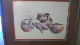 NAVAJO POTS & CORN by SECUNDINO SANDOVAL, SIGNED FRAMED & MATTED PRINT - $395.99