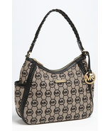NWT MICHAEL Michael Kors Black Whipped Monogram Hobo Shoulder Bag - $198.00