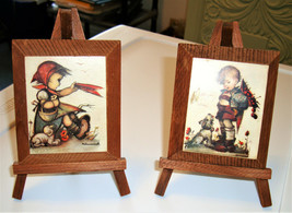 2 Vintage HUMMEL Prints on Wood With Easel Stands ~ Girl w/Lamb and Boy ... - $15.59