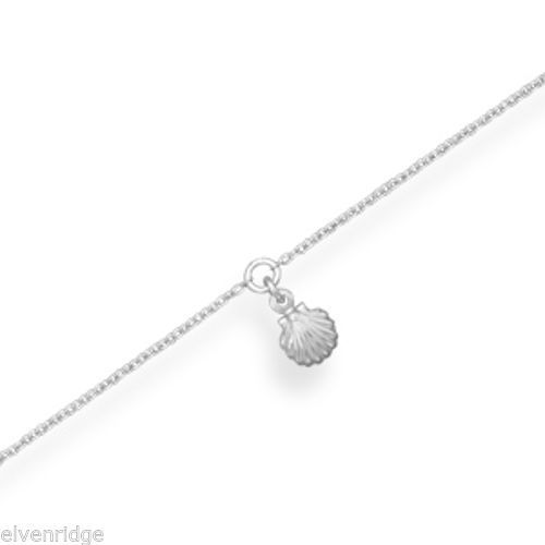 "11"" + 1"" Rhodium Plated Shell Anklet Sterling Silver"