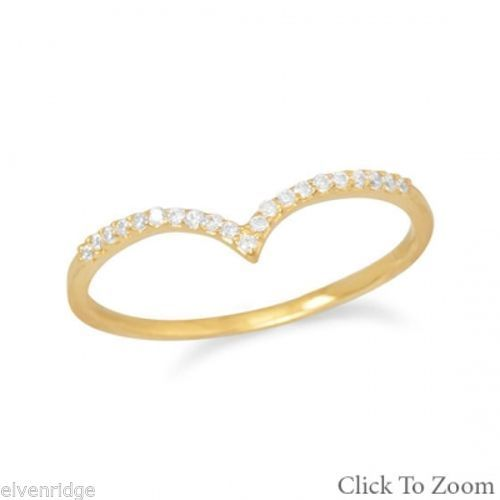 "18 Karat Gold Plated CZ ""V"" Ring Sterling Silver"