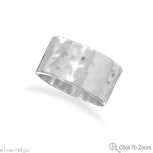 11mm Hammered Band Ring Sterling Silver