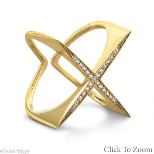 "14 Karat Gold Plated Flat Top CZ ""X"" Ring Sterling Silver"