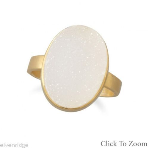 14 Karat Gold Plated White Druzy Ring Sterling Silver