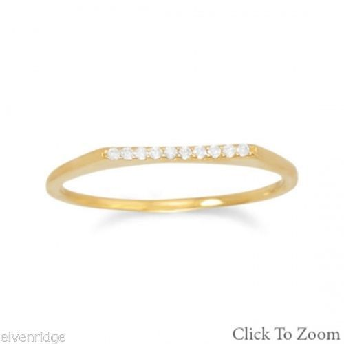 18 Karat Gold Plated Flat Top CZ Ring Sterling Silver