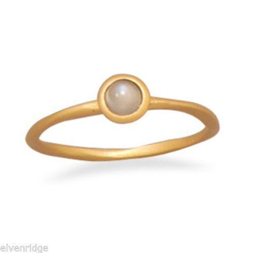 14 Karat Gold Plated Moonstone Ring Sterling Silver