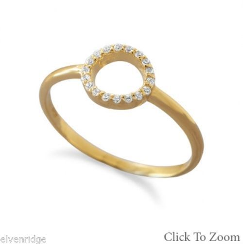 14 Karat Gold Plated Small CZ Circle Ring Sterling Silver