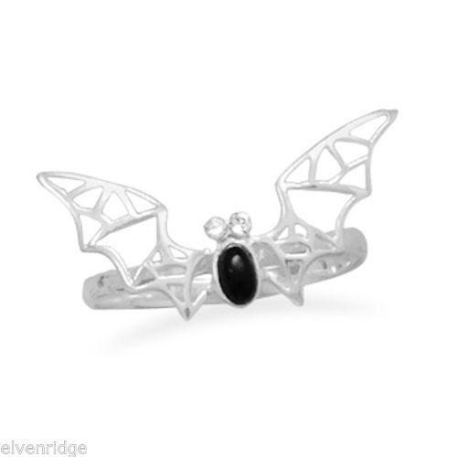 Black Onyx and Crystal Bat Ring Sterling Silver