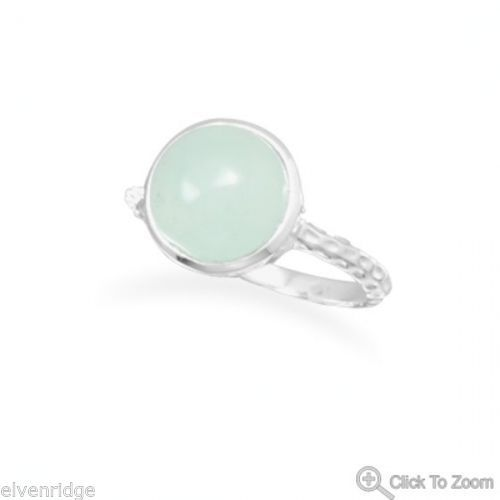 Cabochon Sea Green Chalcedony Ring Sterling Silver